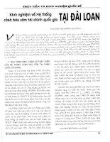 Kinh nghiệm về hệ thống cảnh báo sớm tài chính quốc gia tại đài loan
