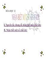 Bài giảng bài nhận biết một số chất khí hóa học 12 (2)