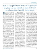 Bàn về việc phát hành, niêm yết và giao dịch cổ phiếu của các NHTM cổ phần việt nam trên trung tâm giao dịch chứng khoán