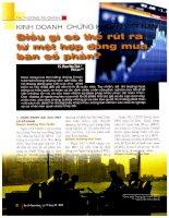 Kinh doanh chứng khoán việt nam điều gì có thể rút ra từ một hợp đồng mua bán cổ phần
