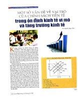 Một số vấn đề về vai trò của chính sách tiền tệ trong ổn định kinh tế vĩ mô và tăng trưởng kinh tế