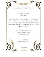 PHÂN TÍCH CÁC NHÂN TỐ TÁC ĐỘNG ĐẾN QUYẾT ĐỊNH CHỌN NGÀNH NGHỀ CỦA HỌC SINH LỚP 12 CÁC TRƯỜNG CÔNG LẬP TRÊN ĐỊA BÀN TPCT