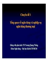 Bài giảng Nghiệp vụ ngân hàng thương mại: Chương 1  TS. Trương Quang Thông