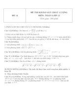 Đề thi khảo sát chất lượng môn toán lớp 12   đề  14
