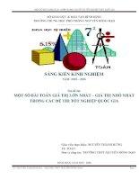 MỘT SỐ BÀI TOÁN GIÁ TRỊ LỚN NHẤT  GIÁ TRỊ NHỎ NHẤT TRONG CÁC ĐỀ THI TỐ NGHIỆP THPT QUỐC GIA