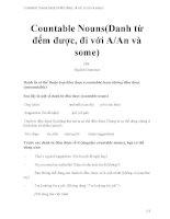 Countable nouns(danh từ đếm được, đi với a an và some)