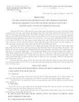 BÁO CÁO  CỦA BAN CHẤP HÀNH CHI ĐOÀN GIÁO VIÊN NHIỆM KỲ 20102011 TRÌNH ĐẠI HỘI ĐOÀN TNCS HỒ CHÍ MINH CHI ĐOÀN GIÁO VIÊN  TRƯỜNG THPT VINH XUÂN NHIỆM KỲ 20112012