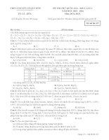 Đề thi thử THPT Quốc gia môn Hóa học lần 1 năm 2016 trường THPT chuyên Lê Quý Đôn
