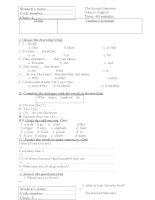 Đề kiểm tra môn Tiếng Anh lớp 3.