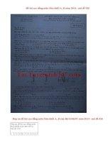 Đáp án đề thi cao đẳng môn Hóa khối A,B năm 2014 - mã đề 526