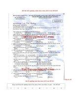 Đáp án đề thi tốt nghiệp môn hóa năm 2014 mã đề 835