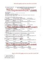 Đáp án đề thi tốt nghiệp môn hóa năm 2014 mã đề 258