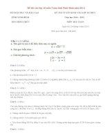 Đáp án đề thi vào lớp 10 môn Toán tỉnh Ninh Bình năm 2014