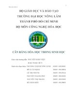 CÂN BẰNG hóa học TRONG SINH học