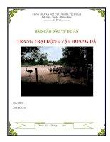 Báo cáo lập dự án trang trại nuôi động vật hoang dã