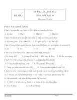 Đề kiểm tra học kỳ 2 môn sinh học lớp 10 đề số 3