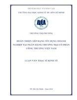 Hoàn thiện xếp hạng tín dụng doanh nghiệp tại ngân hàng thương mại cổ phần công thương việt nam
