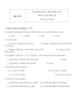 Đề KT 1 tiết HK2 sinh học 10   đề số 7