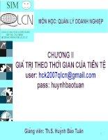 Giá Trị Theo Thời Gian Của Tiền Tệ - Th.S. Huỳnh Bảo Tuân