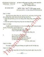 Đáp án đề thi vào lớp 10 môn văn chuyên Bà Rịa Vũng Tàu năm 2013