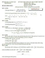Đề thi môn toán lớp 10-chuyên KHÁNH HÒA năm 2012