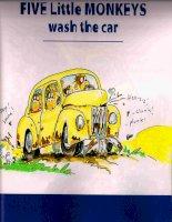 Sách tiếng Anh cho trẻ em Five little monkeys wash the car