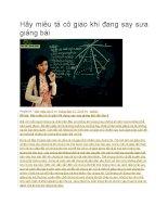 Hãy miêu tả cô giáo khi đang say sưa giảng bài