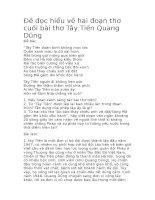Đề đọc hiểu về hai đoạn thơ cuối bài thơ tây tiến quang dũng