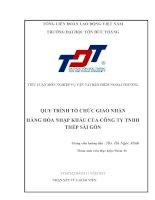 Quy trình tổ chức giao nhận hàng hóa nhập khẩu từ Nhật Bản về Việt Nam của công ty TNHH Thép Sài gòn