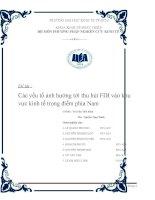 Các yếu tố ảnh hưởng tới thu hút FDI vào khu vực kinh tế trọng điểm phía Nam