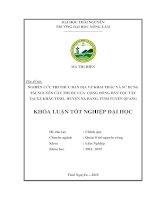 Nghiên cứu tri thức bản địa về khai thác và sử dụng tài nguyên cây thuốc của cộng đồng dân tộc Tày tại xã Khâu Tinh, huyện Na Hang, tỉnh Tuyên Quang