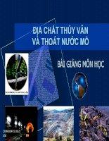 Bài giảng môn học địa chất thủy văn và thoát nước mỏ