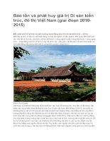 Bảo tồn và phát huy giá trị Di sản kiến trúc, đô thị Việt Nam (giai đoạn 2010-2015