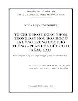 TỔ CHỨC HOẠT ĐỘNG NHÓM TRONG dạy học hóa học ở TRƯỜNG TRUNG học PHỔ THÔNG – PHẦN hóa hữu cơ 11 NÂNG CAO