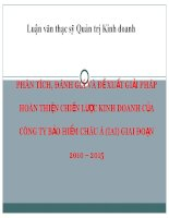 PHÂN TÍCH, ĐÁNH GIÁ VÀ ĐỀ XUẤT GIẢI PHÁP HOÀN THIỆN CHIẾN LƯỢC KINH DOANH CỦA CÔNG TY BẢO HIỂM CHÂU Á (IAI) GIAI ĐOẠN 2010 – 2015