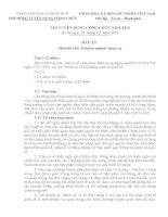 Đề và đáp án thi viết chuyên ngành ngoại vụ kỳ thi tuyển công chức năm 2013 tỉnh thừa thiên huế