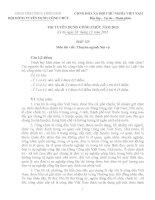 Đề và đáp án thi viết chuyên ngành nội vụ kỳ thi tuyển công chức năm 2013 tỉnh thừa thiên huế