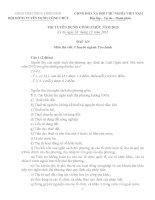 Đề và đáp án thi viết chuyên ngành tài chính kỳ thi tuyển công chức năm 2013 tỉnh thừa thiên huế