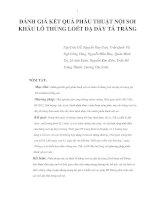 ĐÁNH GIÁ KẾT QUẢ PHẪU THUẬT NỘI SOI KHÂU LỖ THỦNG LOÉT DẠ DÀY TÁ TRÀNG