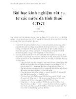 Bài học kinh nghiệm rút ra từ các nước đã tính thuế GTGT