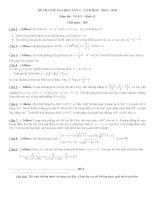 Đề thi thử môn toán kỳ thi thpt Quốc Gia 2016 có đáp án