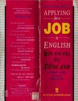 Đơn Xin Việc Bằng Tiếng Anh  Applying For A Job In English