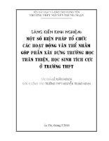 MỘT SỐ BIỆN PHÁP TỔ CHỨC CÁC HOẠT ĐỘNG VĂN THỂ NHẰM GÓP PHẦN XÂY DỰNG TRƯỜNG HỌC THÂN THIỆN HỌC SINH TÍCH CỰC Ở TRƯỜNG THPT