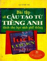 Bài Tập Cấu Tạo Từ Tiếng Anh Trung Học Phổ Thông