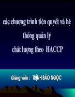 các chương trình tiên quyết và hệ thống quản lý chất lượng theo HACCP