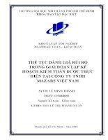 Thủ tục đánh giá rủi ro trong giai đoạn lập kế hoạch kiểm toán được thực hiện tại công ty Trách nhiệm hữu hạn marzars Việt Nam