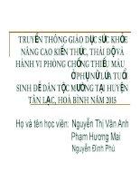 TRUYỀN THÔNG GIÁO DỤC SỨC KHỎE NÂNG CAO KIẾN THỨC, THÁI ĐỘ VÀ HÀNH VI PHÒNG CHỐNG THIẾU MÁU Ở PHỤ NỮ LỨA TUỔI SINH ĐẺ DÂN TỘC MƯỜNG TẠI HUYỆN TÂN LẠC, HOÀ BÌNH NĂM 2015
