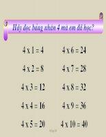 bài giảng toán 2 bảng chia 4