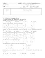 Đề kiểm tra cuối học kì II - Môn Toán lớp 4 - Năm học 2015 - 2016 (có ma trận)