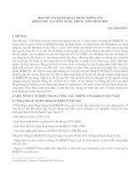 MỘT SỐ VẤN ĐỀ VỀ HOẠT ĐỘNG THÔNG TIN KHOA HỌC VÀ CÔNG NGHỆ TRONG TÌNH HÌNH MỚI